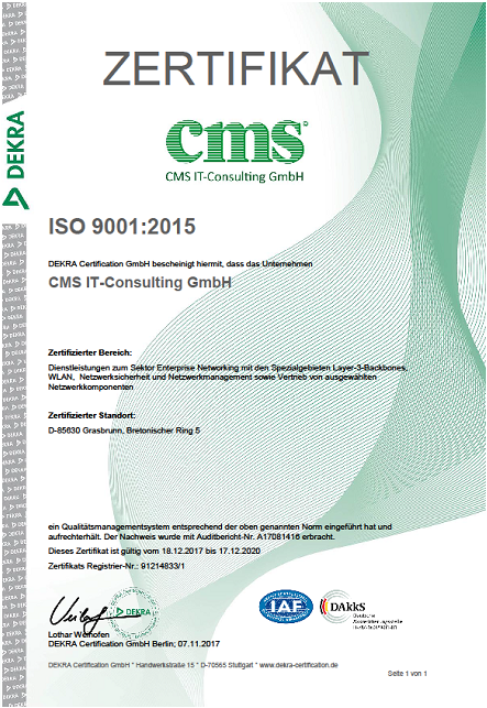 Zertifizierung ISO 9001:2015 - CMS IT-Consulting GmbH